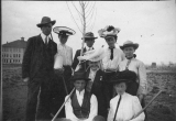 Officers of the class of 1907. Planting a tree on Arbor Day