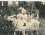 Richards, Addie -- Addie Wakefield holding Helen Hill on a goat