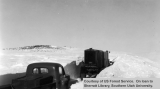 Emergency snow removal, truck and tractor, 1949