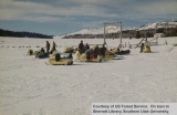 Recreation, group of snowmobilers