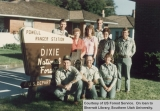 Powell Ranger station and staff by a Dixie National Forest sign