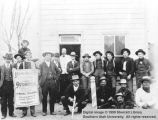 Men in front of Harry Hunter's old barber shop; Cedar City, Iron County, Utah