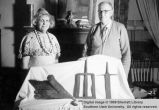 Mrs. Dick Higbee and William R. Palmer with pioneer and Indian relics, Toquerville Homecoming;...