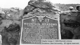Plaque on marker stone; Mountain Meadows, Washington County, Utah