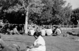 Men's card game in the park; Cedar City, Iron County, Utah