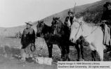 Pete, Bill, and Poinkum with horses; Cedar City, Iron County, Utah