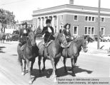 Three horsewomen, Utah Centennial Parade; Cedar City, Iron County, Utah
