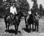 Norman, Susie, and Rudy Iverson on horses